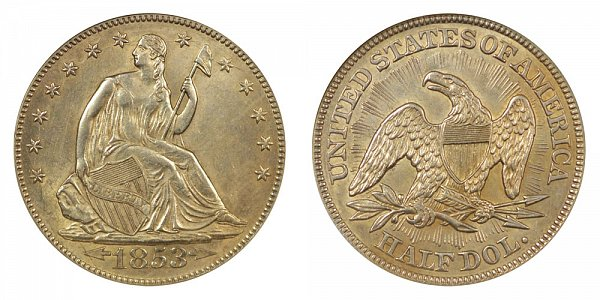 1853 Seated Liberty Half Dollar - Arrows At Date - Rays on Reverse