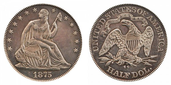 Seated Liberty Half Dollars Type 4 Resumed - Motto Above Eagle - No Arrows At date US Coin