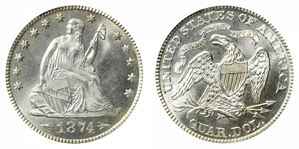 Seated Liberty Quarters Type 5 - Arrows at Date US Coin