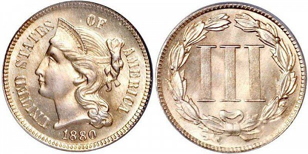 Nickel 3 Cent Piece designed by James Longacre