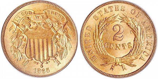2 Cent Piece designed by James Longacre