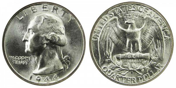 1944 S Washington Silver Quarter