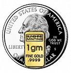 1 gram gold bar size