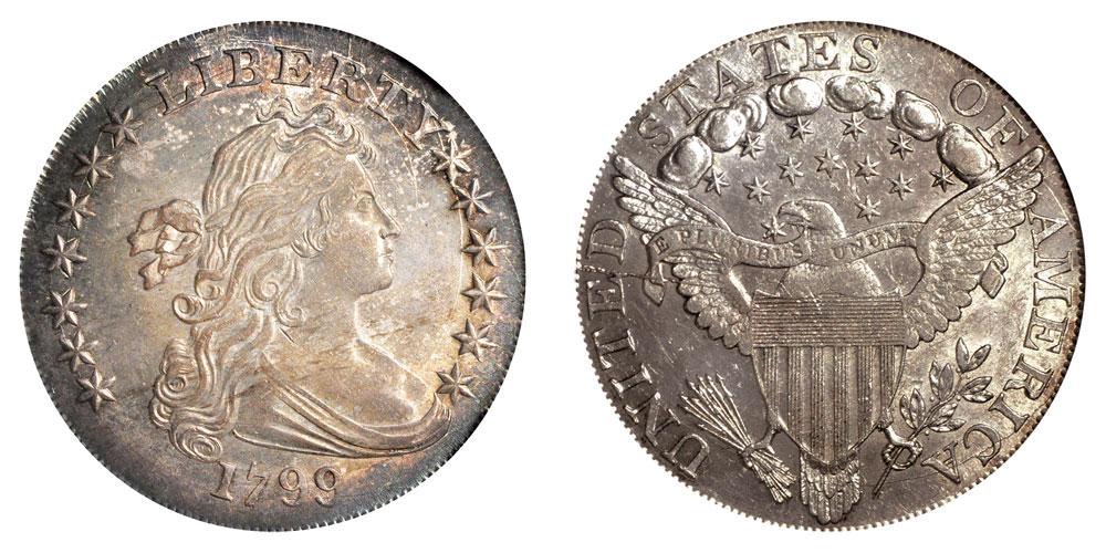 1799 Draped Bust Silver Dollars Irregular Date 13 Star