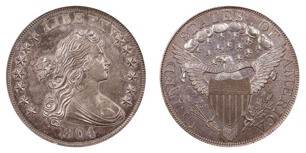 1804 Draped Bust Silver Dollar Second Reverse Restrike