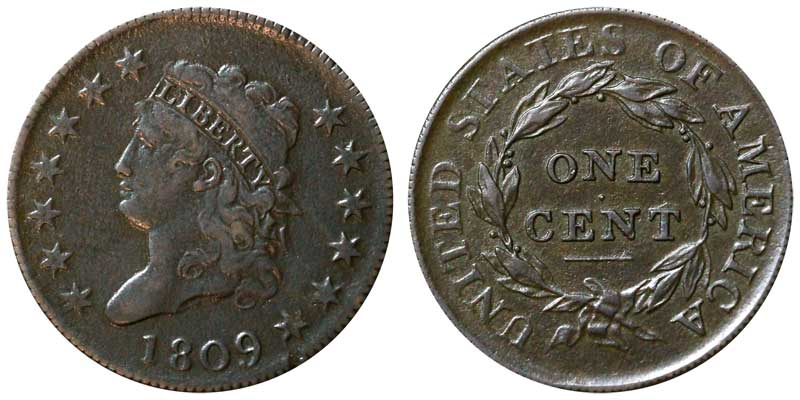 1809 Classic Head Large Cent Early Copper Penny Coin Value