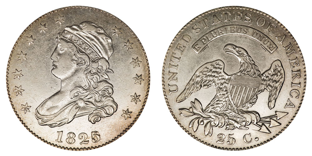1825 capped bust quarters 5 over 2 wide date type 1 for 1825 2