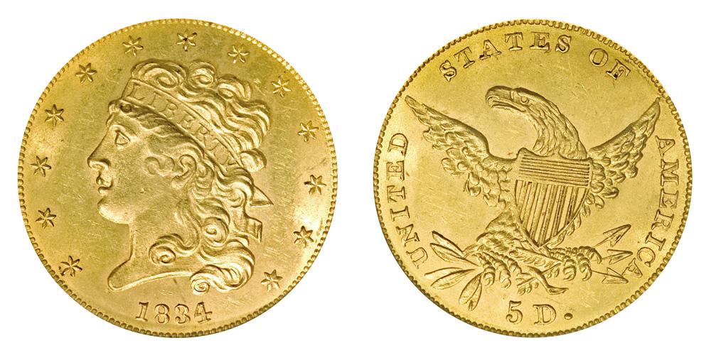1834 Clic Head 5 Gold Half Eagle Plain 4 Five Dollars