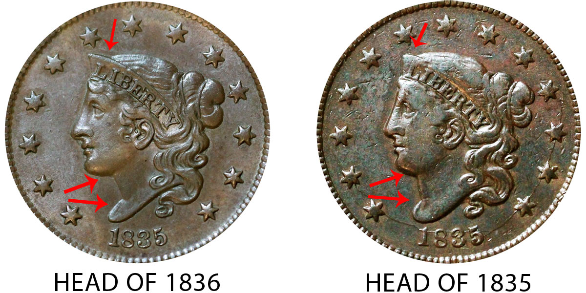1835 & 1837 Coronet Head Large Cents ANACS VG 10 Details