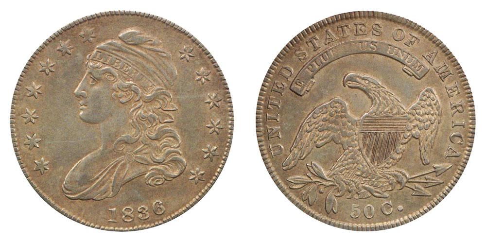 1836 Capped Bust Half Dollar Lettered Edge VF