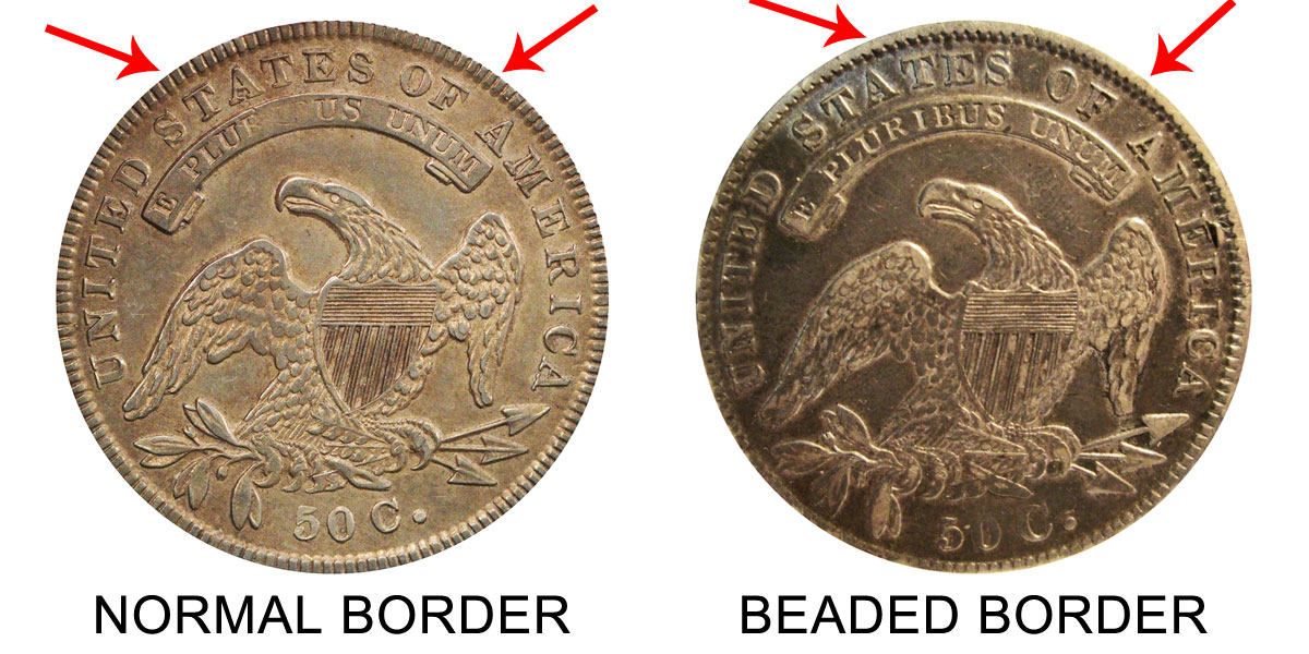 1836 Capped Bust Half Beaded Border Reverse Variety