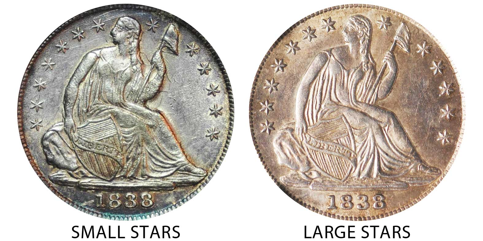 1838 Seated Liberty Half Dimes No Drapery Large Stars