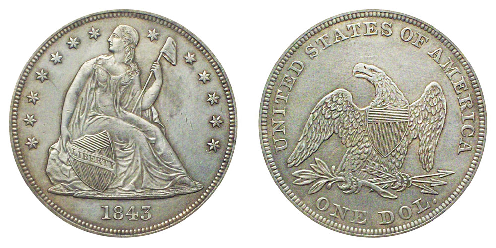 1843 Seated Liberty Silver Dollar Coin Value Prices