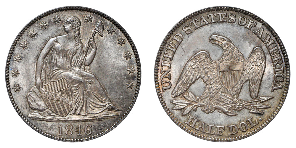 1846 Seated Liberty Half Dollar Tall Date Coin Value