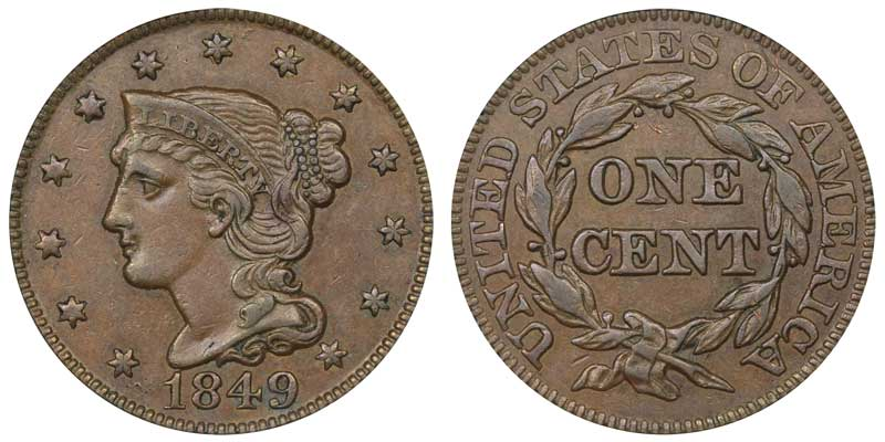 1849 Braided Hair Liberty Head Large Cent Early Copper Penny Coin Value Prices Photos Info