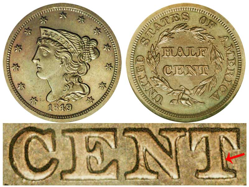 1849 Braided Hair Half Cent First Restrike Small Date Proof Only Early Copper Half Penny Coin Value Prices Photos Info