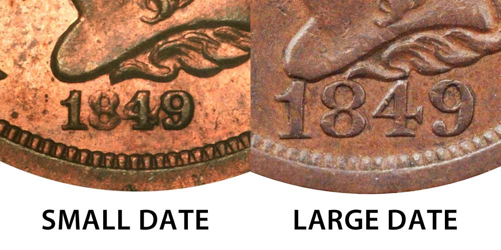1849 Braided Hair Half Cent Large Date Early Copper Half Penny Coin Value Prices Photos Info
