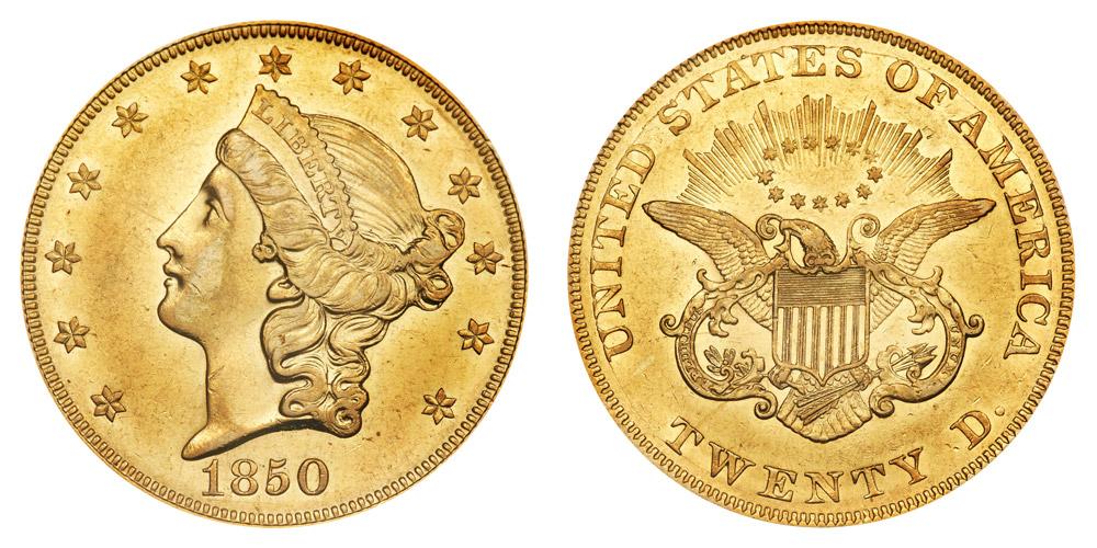1850 Coronet Head Gold 20 Double Eagle Liberty Head