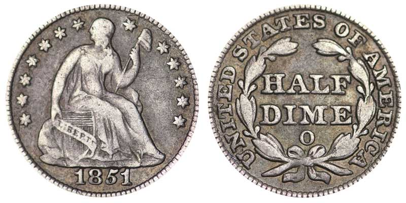 1851 O Seated Liberty Half Dimes Value And Prices
