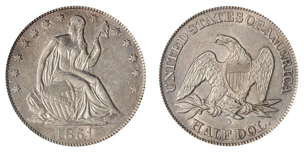1851 O Seated Liberty Half Dollars Value And Prices