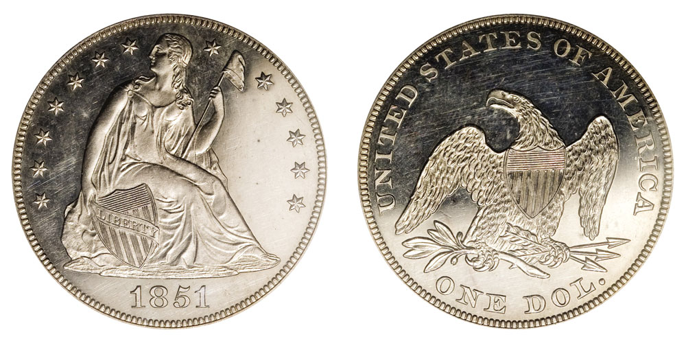 1851 Seated Liberty Silver Dollar Restrike - Date Centered