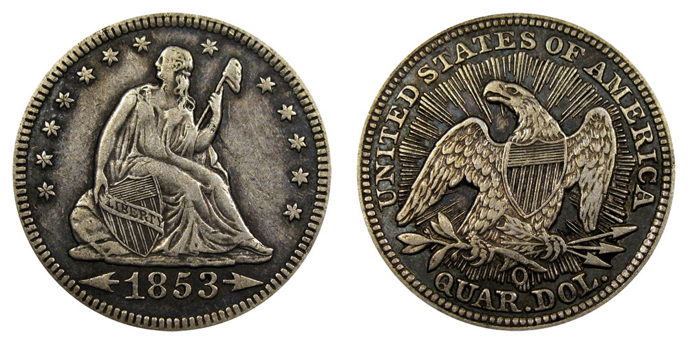 1853 O Seated Liberty Quarter Coin Value Prices Photos Amp Info