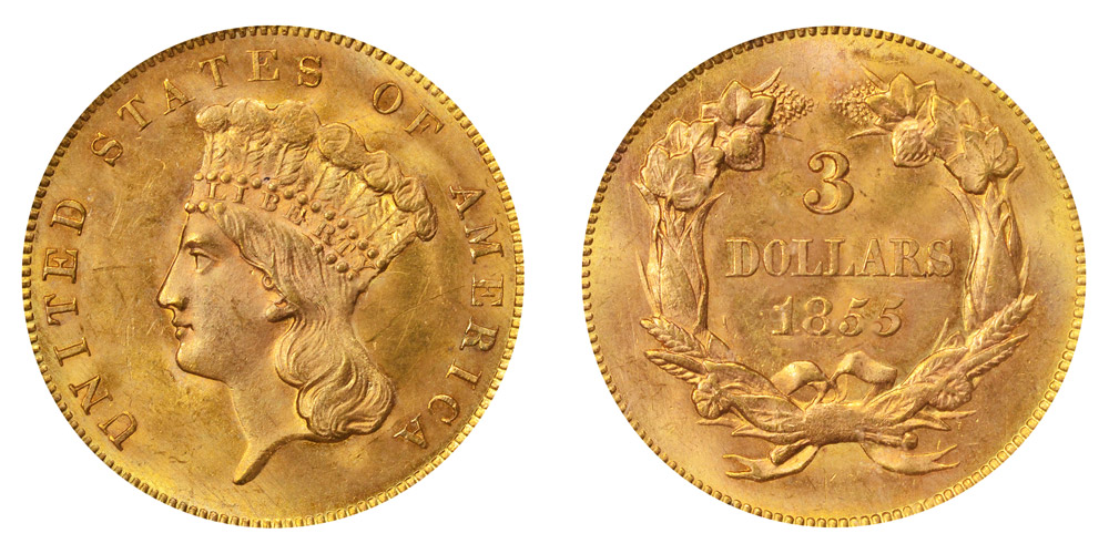 1855 indian princess head gold 3 three dollar piece early gold