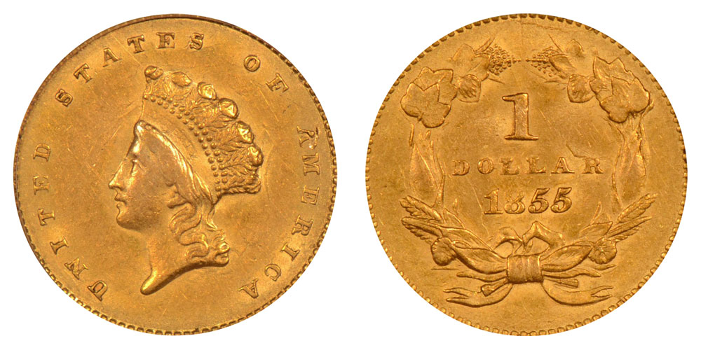 1855 Small Indian Head Gold Dollar Type