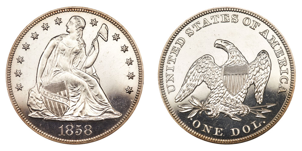 1858 Seated Liberty Dollars Proof Only