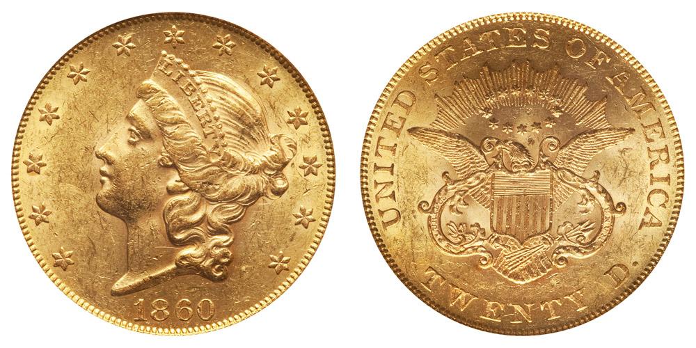 1860 20 dollar gold coin