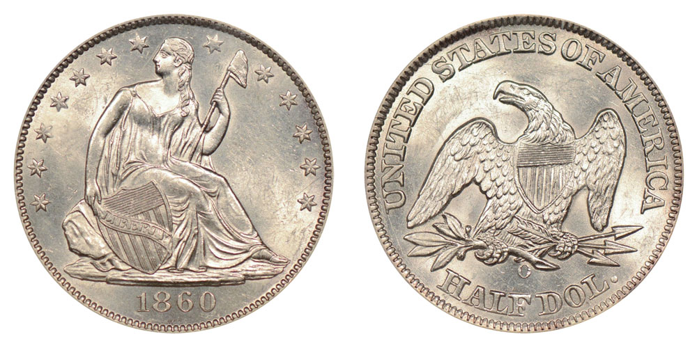1860 O Seated Liberty Half Dollars Value And Prices