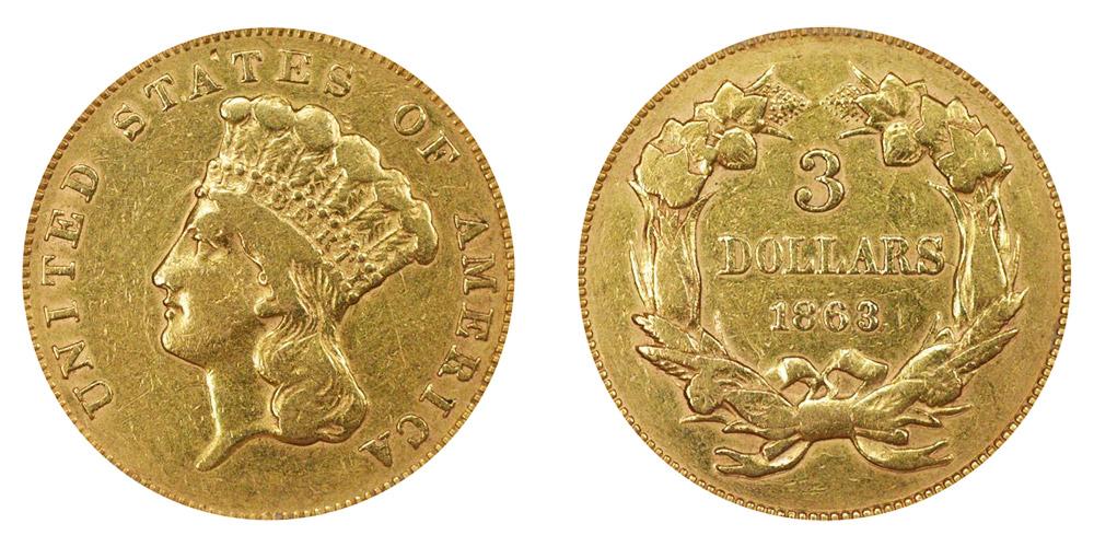1863 Indian Princess Head Gold 3 Three Dollar Piece