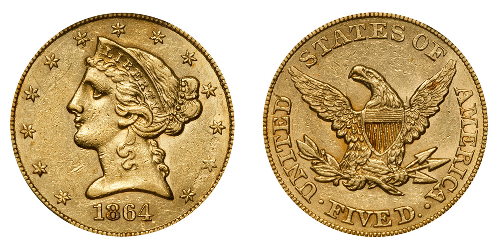 1864 Coronet Head Gold 5 Half Eagle Type 1 No Motto