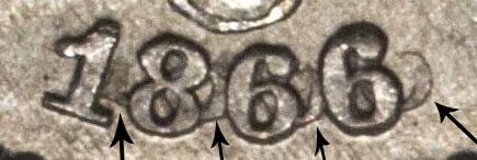 1866 SHIELD NICKEL Rays
