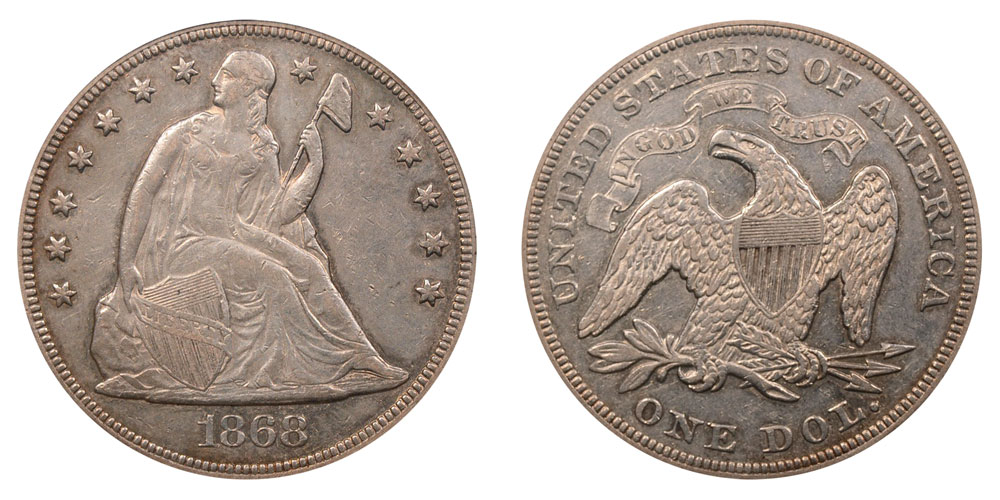 1868 Seated Liberty Silver Dollar Coin Value Prices, Photos