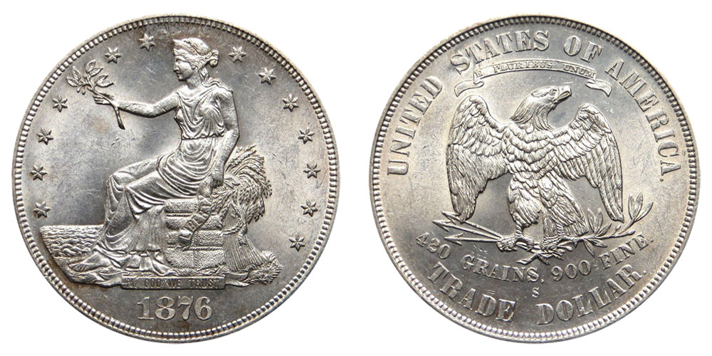 1876 S Trade Silver Dollars Type 1 Obverse Type 1