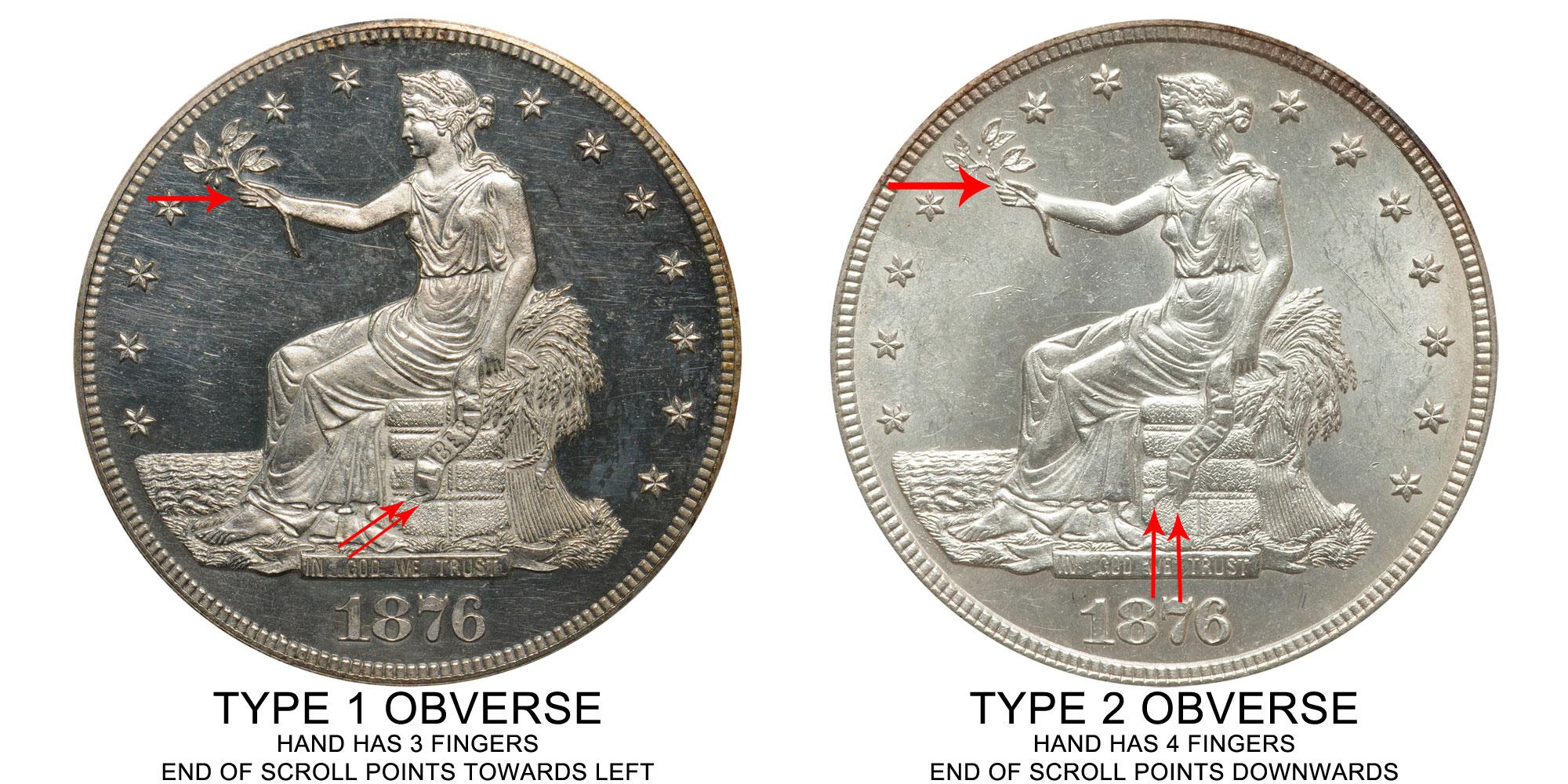 1876 Trade Silver Dollars Type 2 Obverse Type 2 Reverse