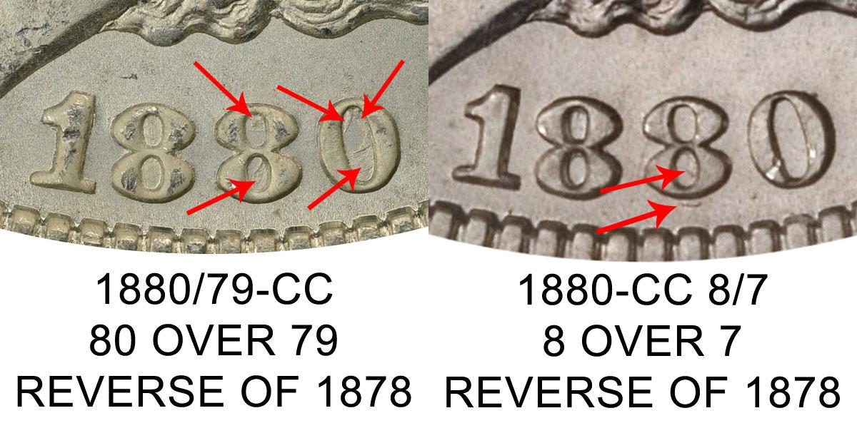 1880 Cc Morgan Silver Dollar Reverse Of 1878 80 Over 79