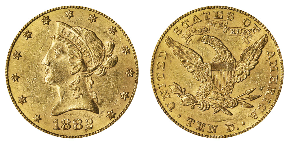 1882 Coronet Head Gold 10 Eagle New Style Liberty Head With Motto