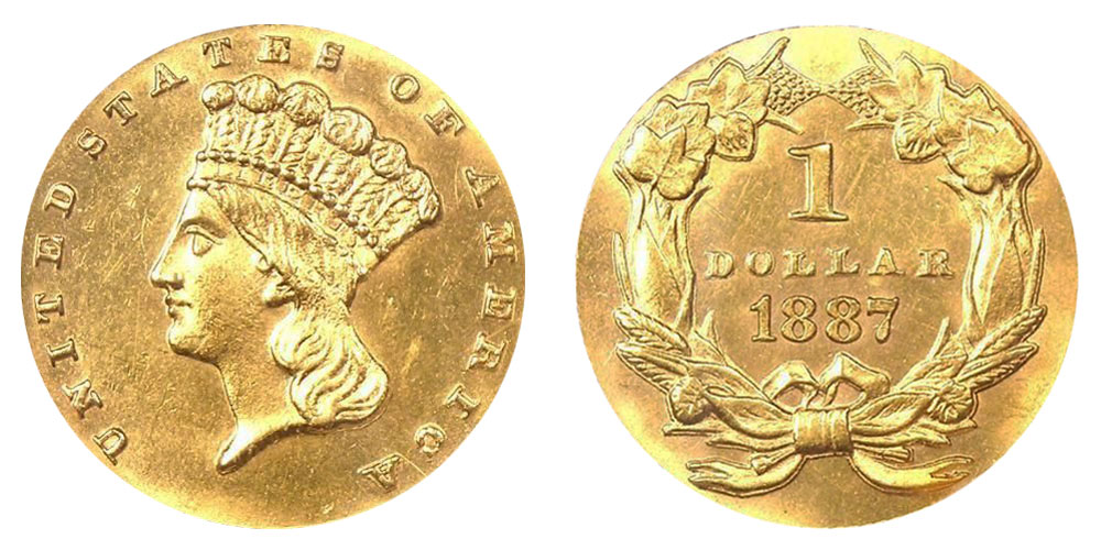 1887 Large Indian Head Gold Dollar Type
