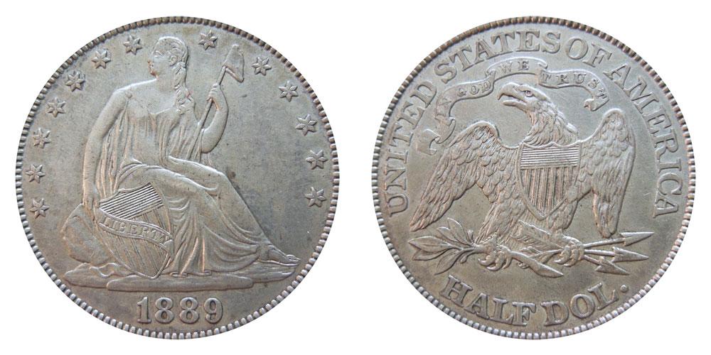 1889 Seated Liberty Half Dollar Coin Value Prices Photos