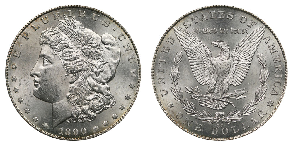 1890 S $1 Morgan Silver Dollar XF EF Extremely Fine with 1916 Barber Dime Good