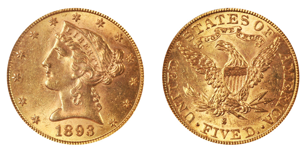 1893 S Coronet Head Gold 5 Half Eagle Type 2 With Motto