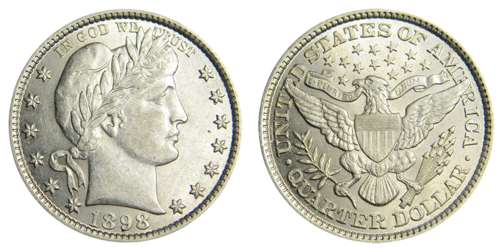 1898 US Barber Silver Quarter in Good Condition Price per Each Coin See Photos