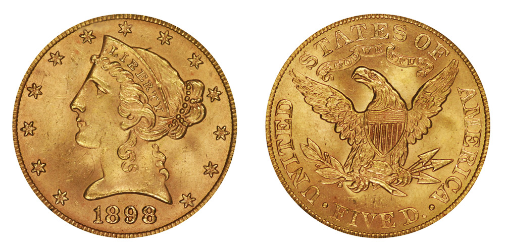 1898 five dollar gold coin value