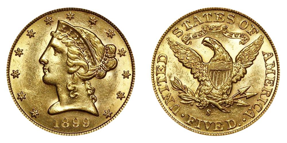 1899 S Liberty Head 5 Gold Half Eagle Five Dollars