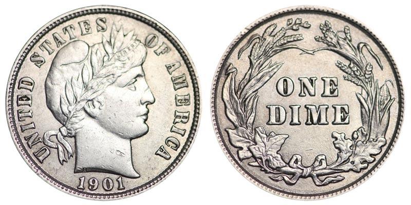 1901 Barber Dime Coin Value Prices Photos Info