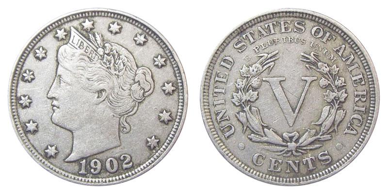 """1902 Liberty Head """"V"""" Nickel Coin Value Prices, Photos & Info"""