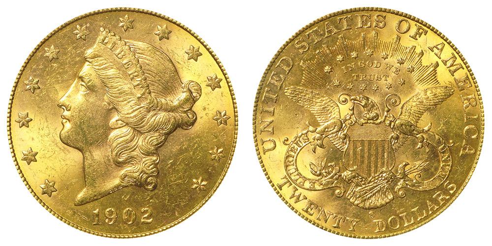 1902 S Coronet Head Gold 20 Double Eagle Liberty Head