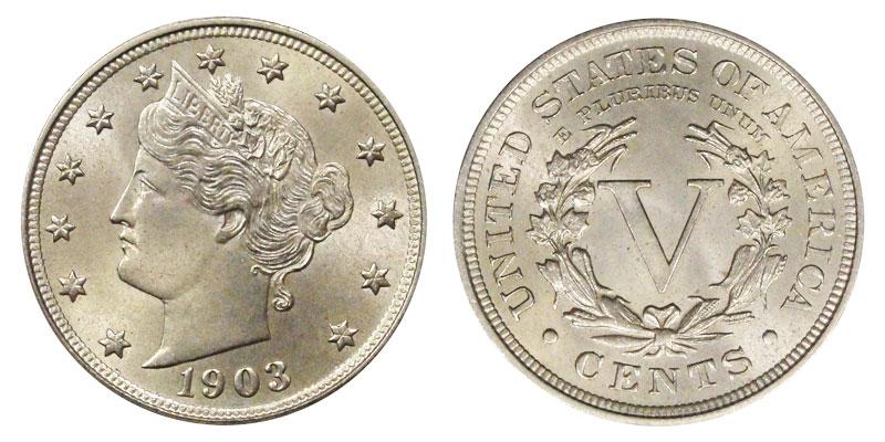 """1903 Liberty Head """"V"""" Nickel Coin Value Prices, Photos & Info"""